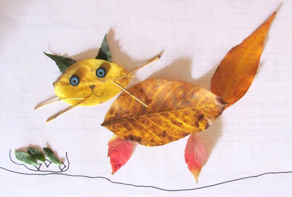 Картины из листьев и цветов своими руками