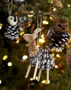 Игрушки на елку своими руками 2016. Что сделать из шишек на Новый год (18)