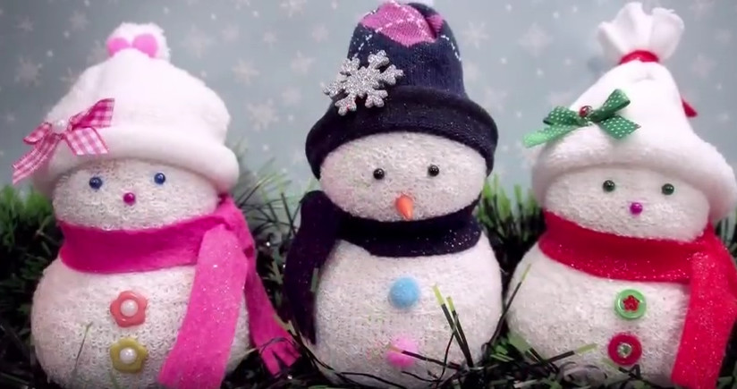 Игрушка снеговик из носка