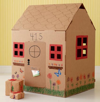 Как сделать домик из коробки без клея