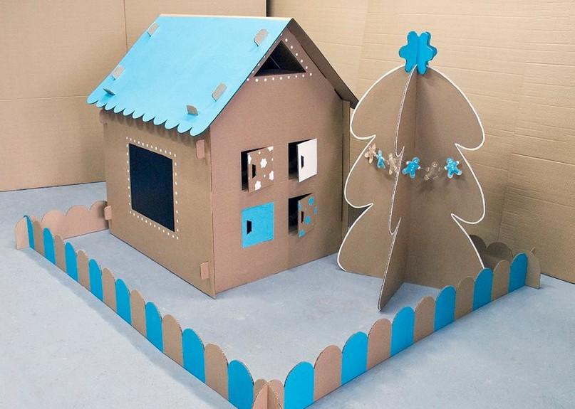 Домик из картона своими руками для детей поделка на новый год