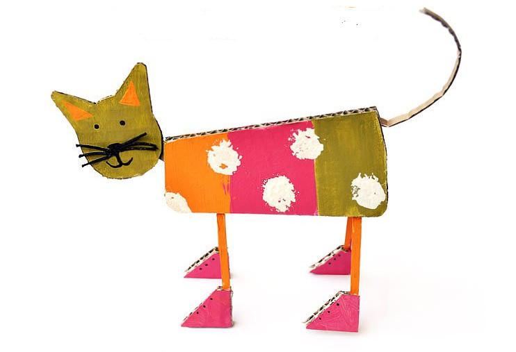 Как сделать из картона котика