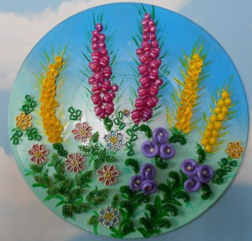 52ab0103ca18 Замечательная картина с полевыми цветочками и колосьями: Аппликации из  макарон