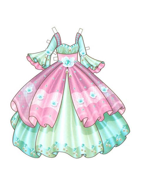 Платья из бумаги для кукол