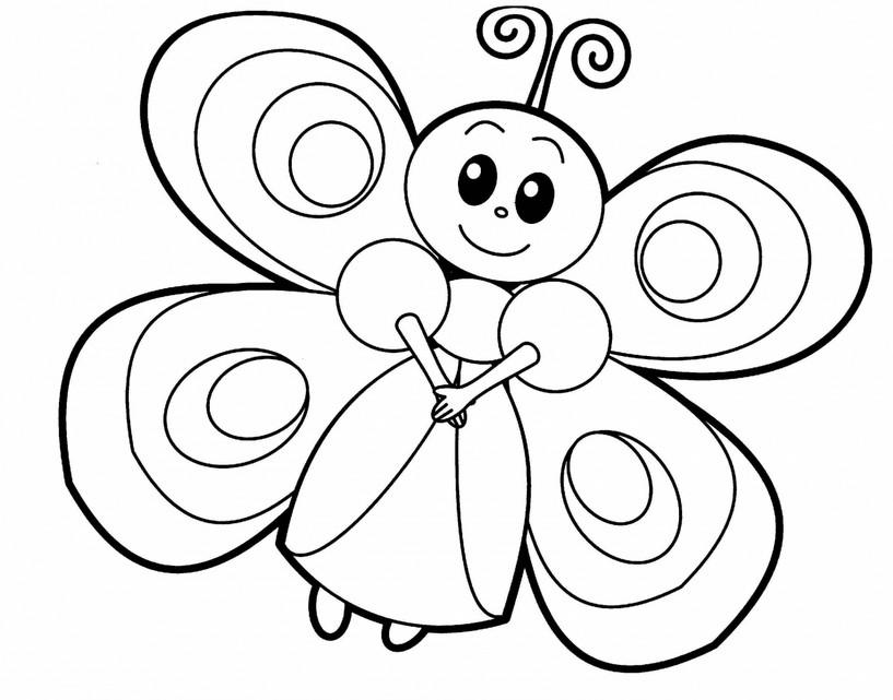 Распечатать раскраски с бабочками для малышей