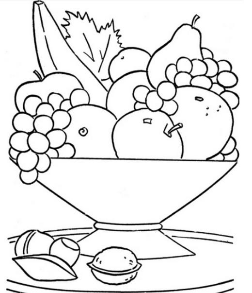 Раскраска фрукты для детей 3 - 4 лет