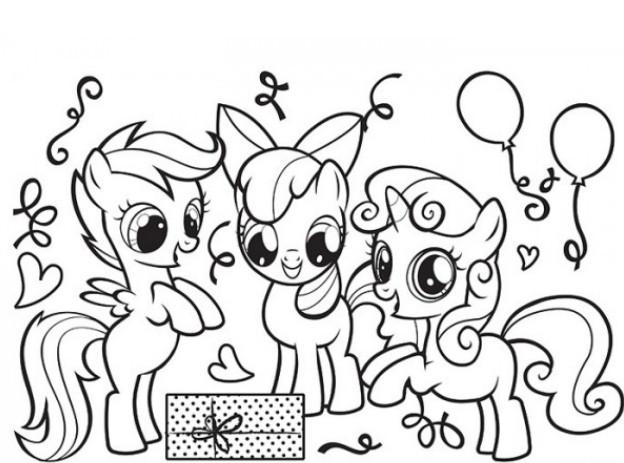 Раскраски бесплатные пони