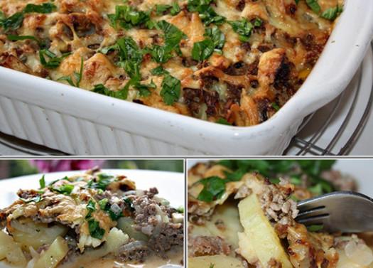 Картофельная запеканка с фаршем и грибами. Готовила не раз — всегда идеально!