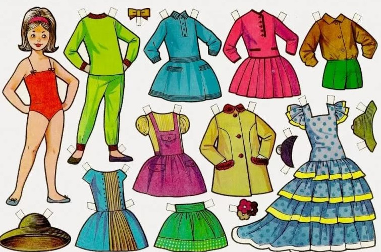 Бумажные куклы с гардеробом из бумаги... А вы играли в детстве в бумажных кукол?