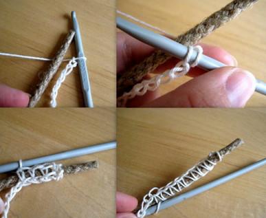 С помощью верёвки и пряжи вы можете связать крючком потрясающую вещицу своими руками...