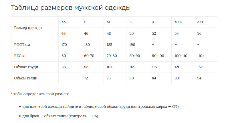Как определить размер одежды для женщины, мужчины, детей